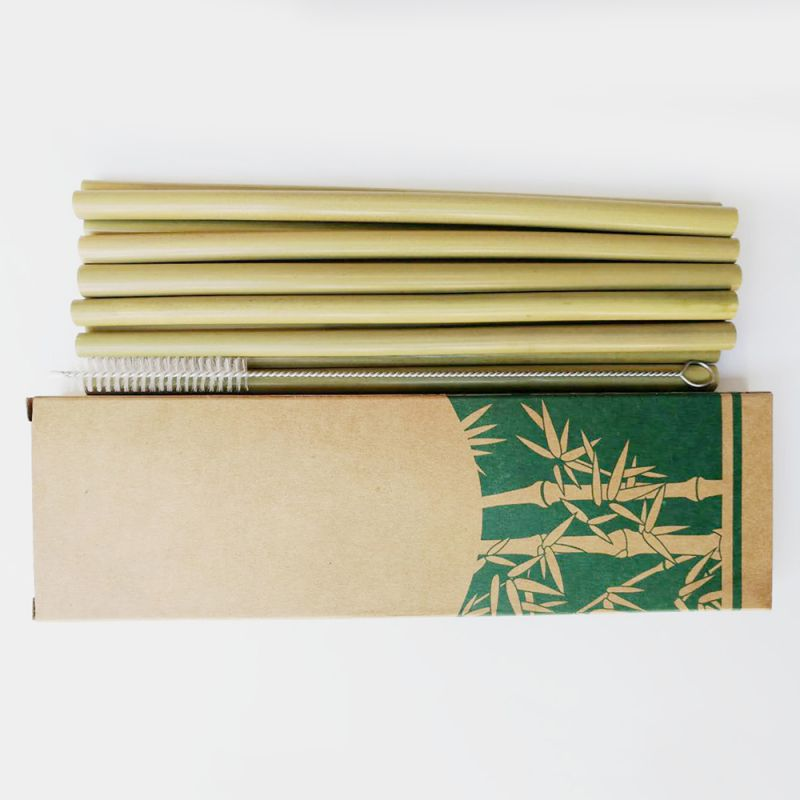 Natural Reusable Bamboo Straws Organic Creative Natural Eco Friendly Drinking Straws Set With Cleaning Brush For Milk Tea N 4