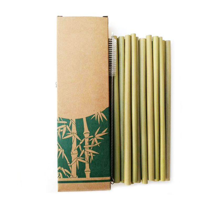Natural Reusable Bamboo Straws Organic Creative Natural Eco Friendly Drinking Straws Set With Cleaning Brush For Milk Tea N 1