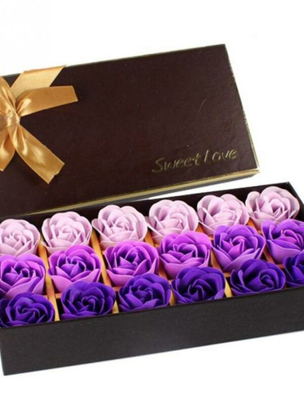 3 Colors 18Pcs/box Simulation Rose Soap with Gift Box Women Girl Bath Facial Soap Valentine's Day Birthday Wedding Gifts 2