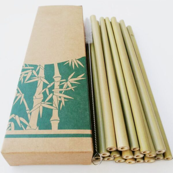 Natural Reusable Bamboo Straws Organic Creative Natural Eco Friendly Drinking Straws Set With Cleaning Brush For Milk Tea N 2