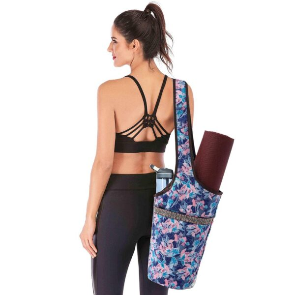 Fashion Yoga Mat Bag Canvas Yoga Bag Large Size Zipper Pocket Fit Most Size Mats Yoga Mat Tote Sling Carrier Fitness Supplies 2