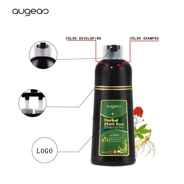 500ml Organic Natural Fast Hair Dye Only 5 Minutes Noni Plant Essence Black Hair Color Dye Shampoo for Cover Gray White Hair 6