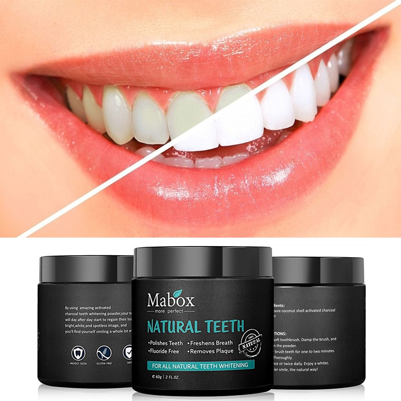 60g Tooth Whitening Powder Activated Coconut Charcoal Natural Teeth Whitening Charcoal Powder Tartar Stain Removal 6