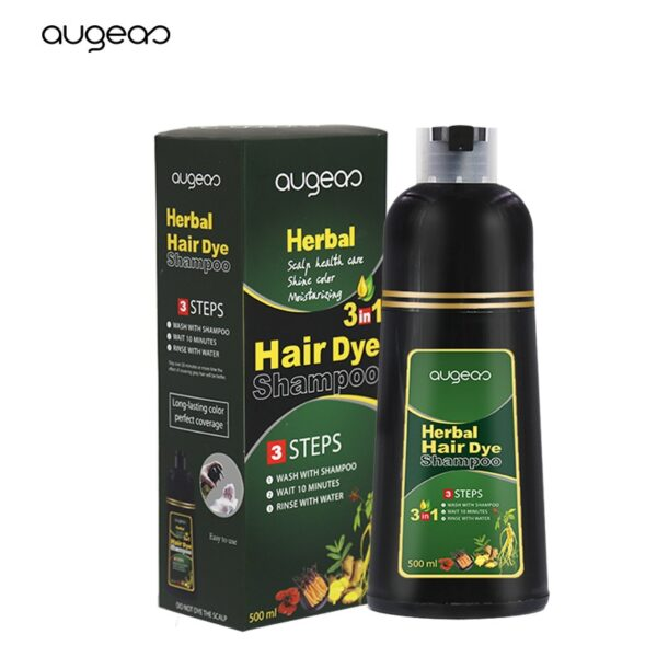 500ml Organic Natural Fast Hair Dye Only 5 Minutes Noni Plant Essence Black Hair Color Dye Shampoo for Cover Gray White Hair 4
