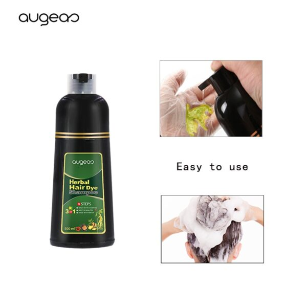 500ml Organic Natural Fast Hair Dye Only 5 Minutes Noni Plant Essence Black Hair Color Dye Shampoo for Cover Gray White Hair 3