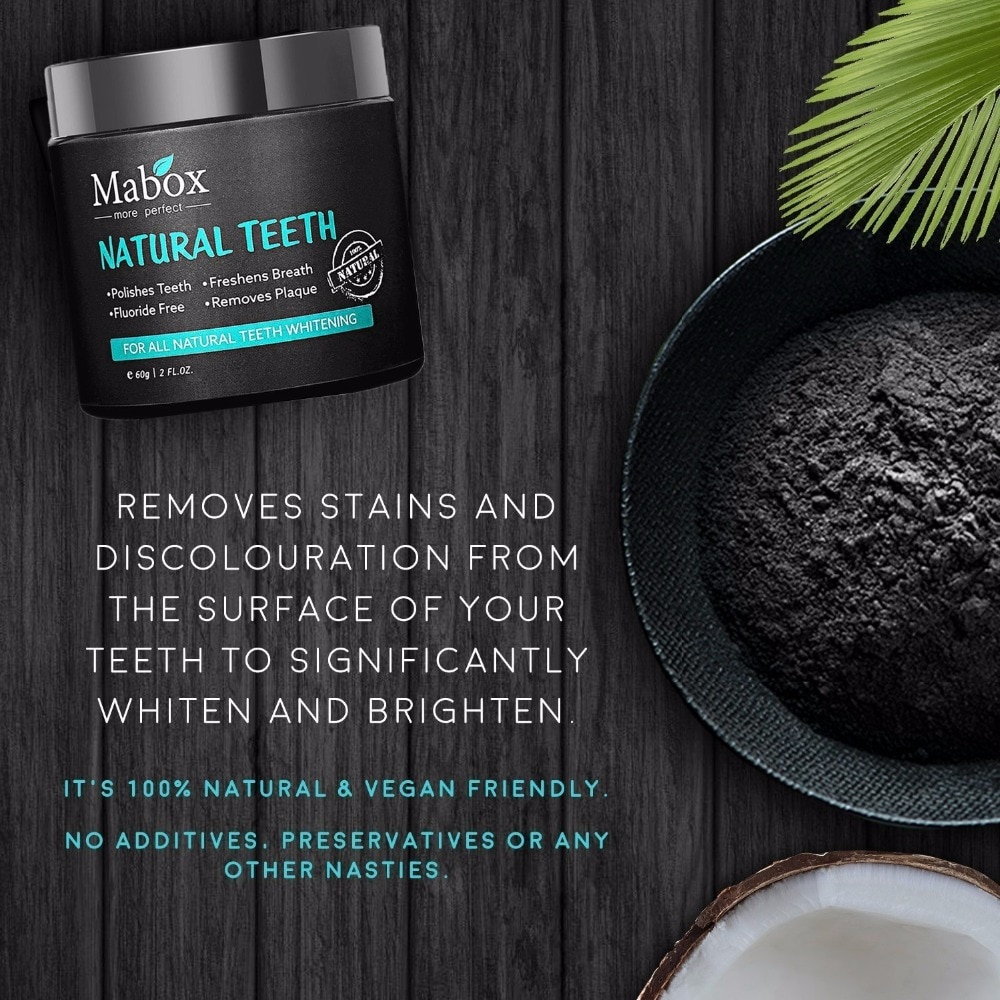 60g Tooth Whitening Powder Activated Coconut Charcoal Natural Teeth Whitening Charcoal Powder Tartar Stain Removal 4