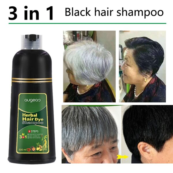 500ml Organic Natural Fast Hair Dye Only 5 Minutes Noni Plant Essence Black Hair Color Dye Shampoo for Cover Gray White Hair 1