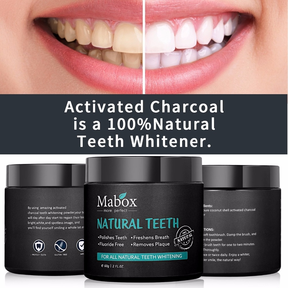 60g Tooth Whitening Powder Activated Coconut Charcoal Natural Teeth Whitening Charcoal Powder Tartar Stain Removal 2